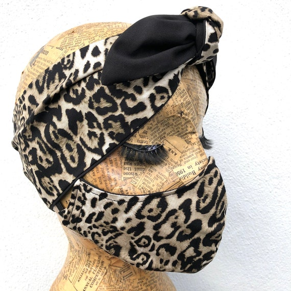 Grey Leopard Print Headscarf And Double Layered Face Mask Set
