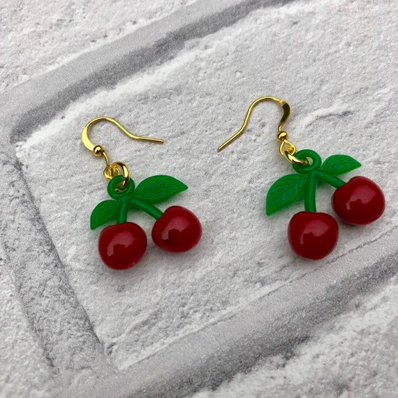Cherry Earrings Rockabilly Pinup 1950's Inspired