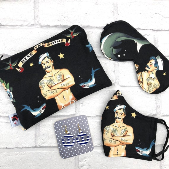 Tattoo Gift Box Makeup Bag  Face Mask , Sleep Mask And Earrings Rockabilly Pinup 1950's Inspired