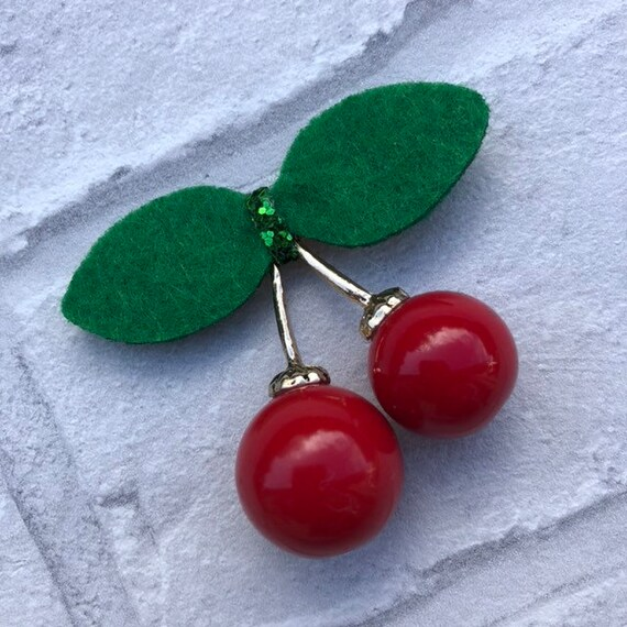 Cherry brooch pin Rockabilly Pinup style