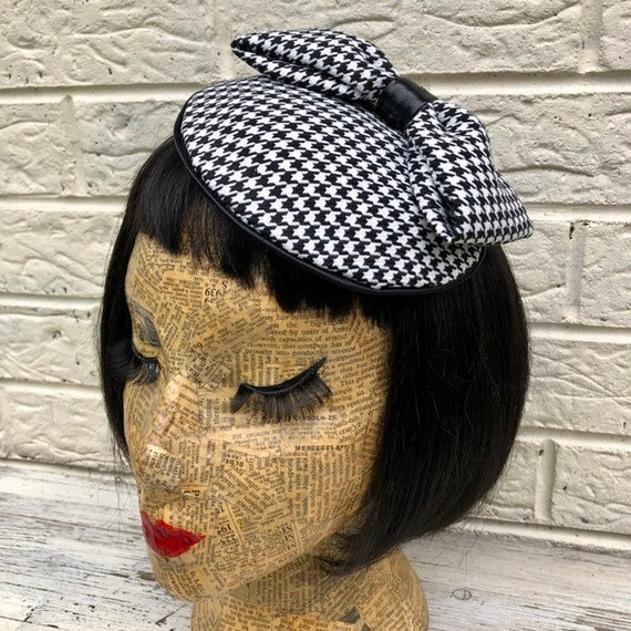 Dogtooth Black and White Fascinator Rockabilly Pinup 1950's Inspired