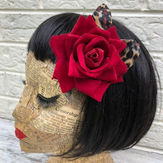 Red Rose and Leopard Print Hair Flower Rockabilly Pinup 1950's Inspired