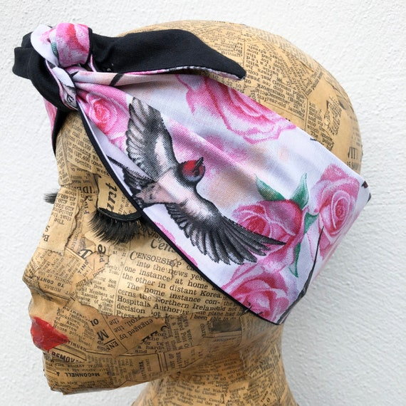 Swallow And Rose Headscarf Rockabilly Pinup 1950's Inspired