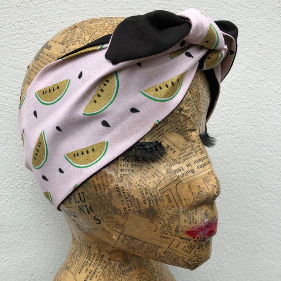 Pink And Gold Watermelon Headscarf Rockabilly Pinup 50's Inspired