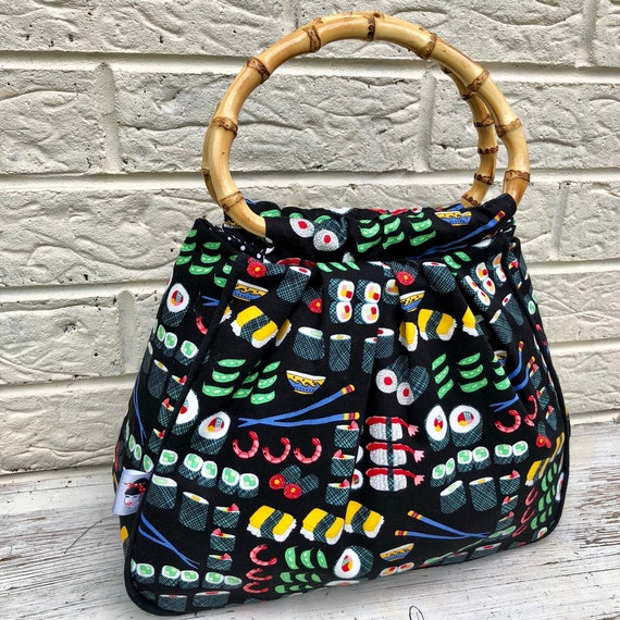 Limited Edition Sushi Print Handbag Rockabilly Pinup 1950's Inspired