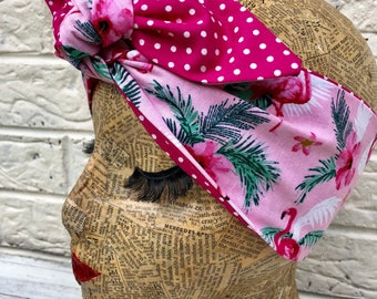 Pink Flamingo Headscarf Rockabilly Pinup 1950's Inspired