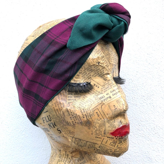 Pink And Green Tartan    Headscarf Rockabilly Pinup 1950's Inspired