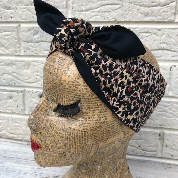 Cheetah Leopard Print Headacarf Rockabilly Pinup 50's inspired