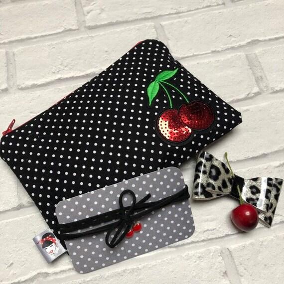Cherry Gift Box Makeup Bag Choker Hair Clip Rockabilly Pinup 1950's Inspired
