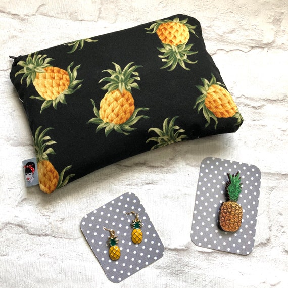 Pineapple  Cosmetic Bag, Earrings And Brooch Gift Box Rockabilly Pinup 1950's Inspired
