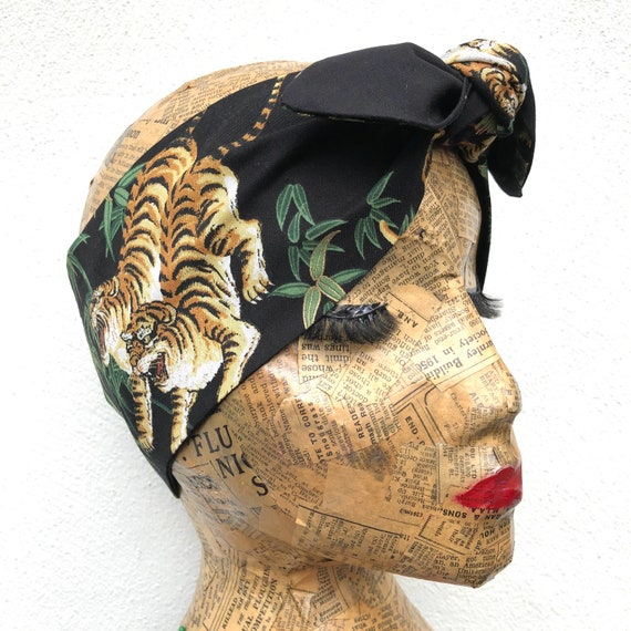 Tiger / Leopard  Headscarf Rockabilly Pinup 1950's Inspired