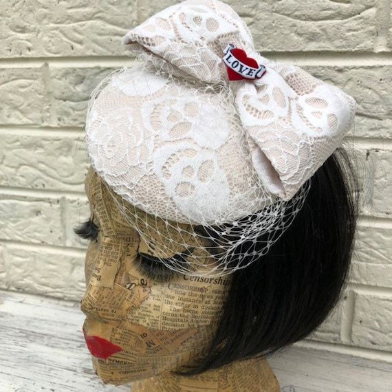 Lace Skull Bridal Fascinator Rockabilly Pinup 1950s Inspired