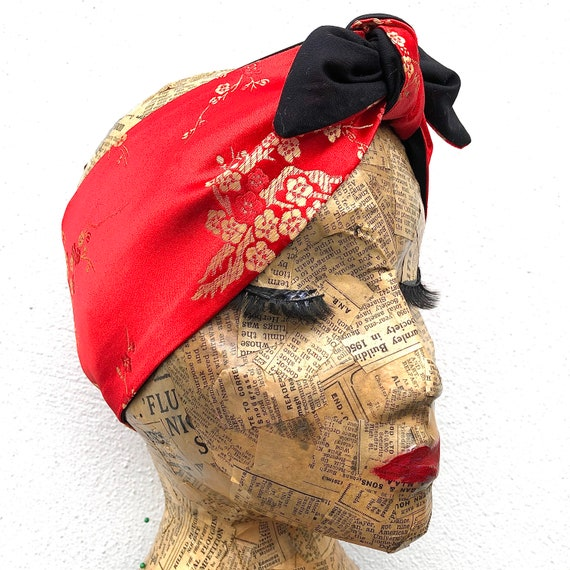 Red And Gold Chinese Brocade  Headscarf Rockabilly Pinup 1950's inspired