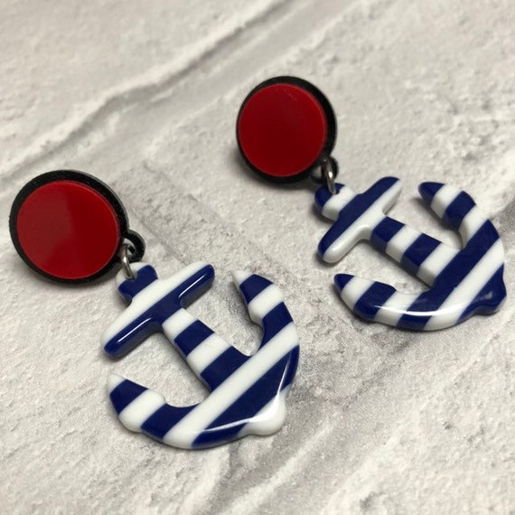 Anchor Acrylic Earrings Rockabilly Pinup 1950s Inspired