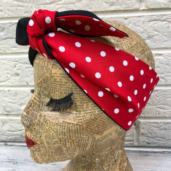 Red and White Polka Dot Headscarf Rockabilly Pinup 1950's Inspired