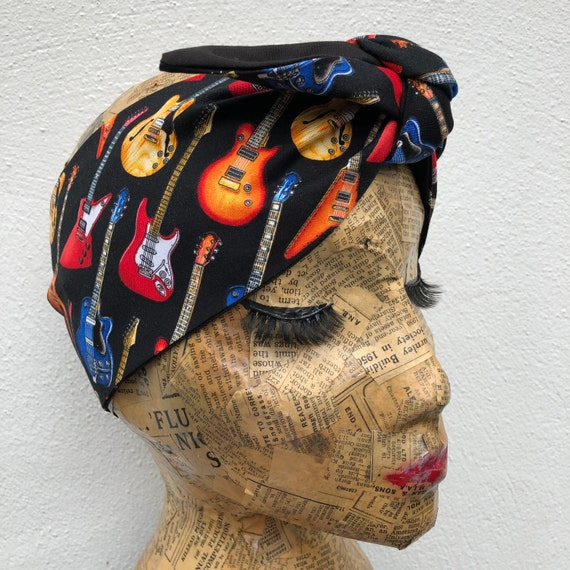 Guitar Headscarf Rockabilly Pinup Inspired