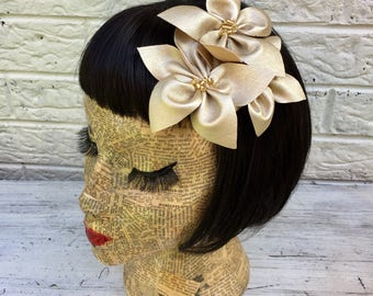 Gold Metallic Faux Leather Flower Hair Clip Pinup 1950's Inspired