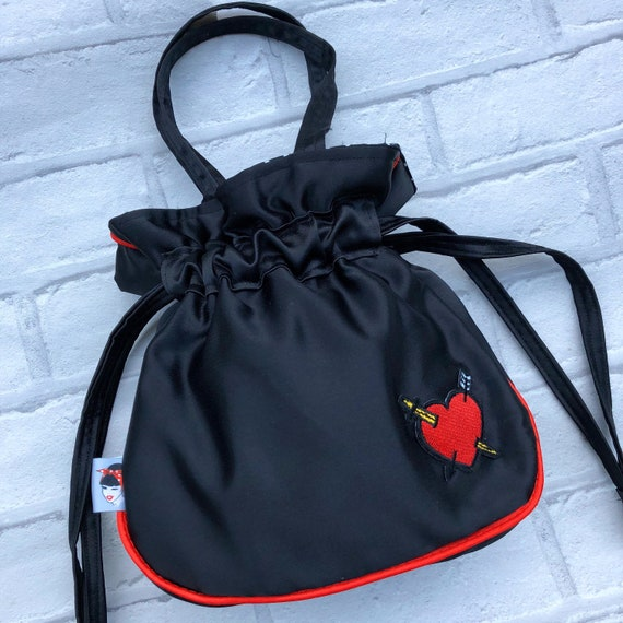 Drawstring Satin Evening Bag Rockabilly Pinup 1950's Inspired