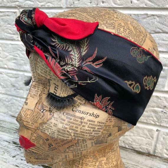 Black Chinese Inspired   Headscarf Rockabilly Pinup 1950's Inspired