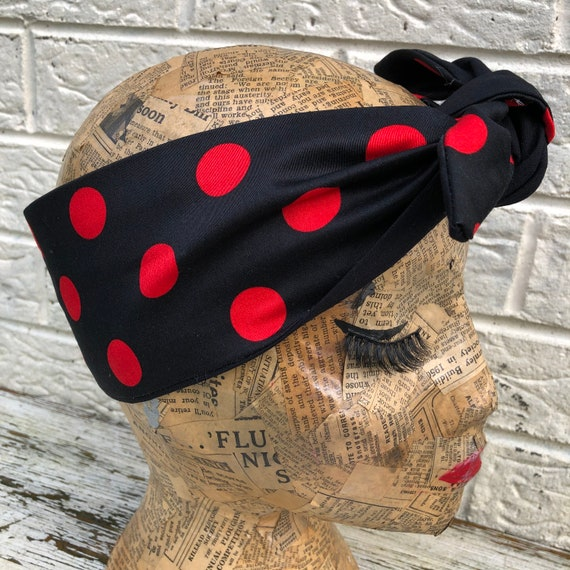Red Polka Dot Headscarf Rockabilly Pinup 1950's Inspired