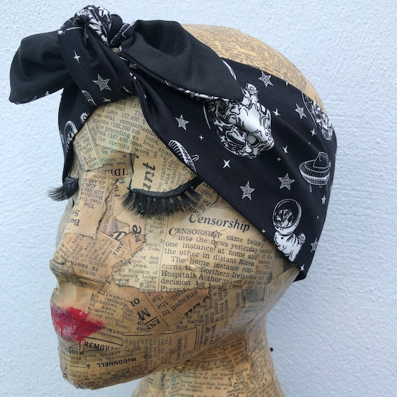 Pugs in Space  Headscarf Rockabilly Pinup 1950's Inspired