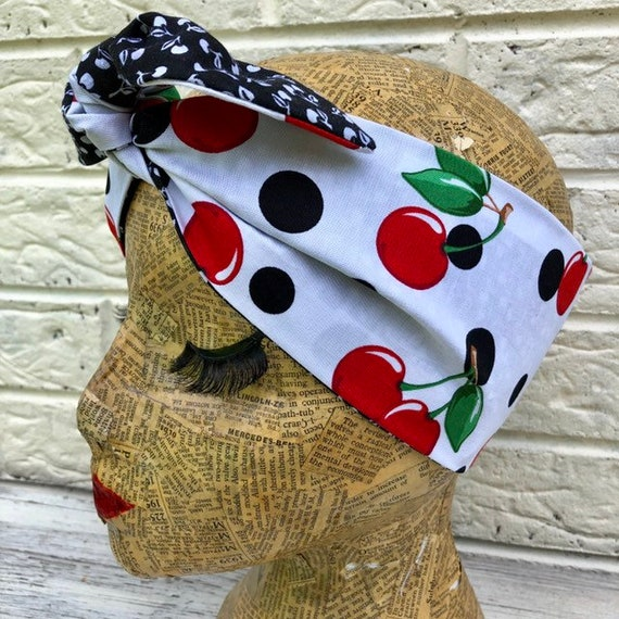 Polka Dot and Cherry Headscarf Rockabilly Pinup 1950's Inspired