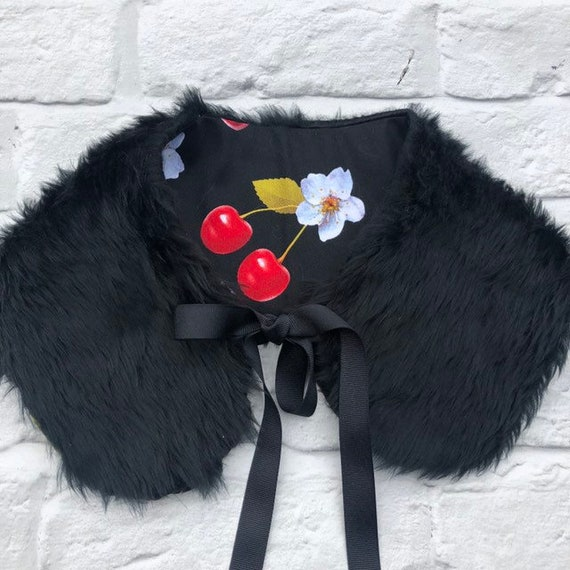 Black Faux Fur and Cherry Collar Rockabilly Pinup 1950's Inspired