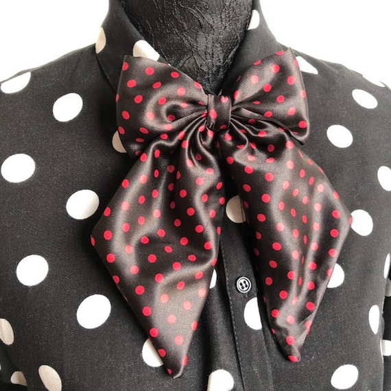 Red And Black Betty Bow Tie Pin Rockabilly Pinup 1950's Inspired