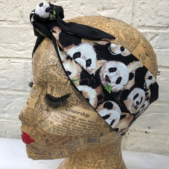 Panda Print Headscarf Rockabilly Pinup 1950's Inspired