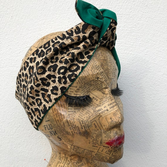 Leopard Print And Green Headacarf Rockabilly Pinup 50's inspired