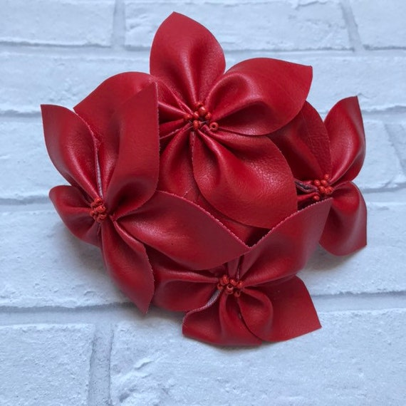 Red Faux Leather Head band Rockabilly Pinup 1950's Inspired