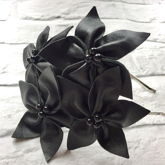 Vintage Black Leather Flower Head band Fascinator