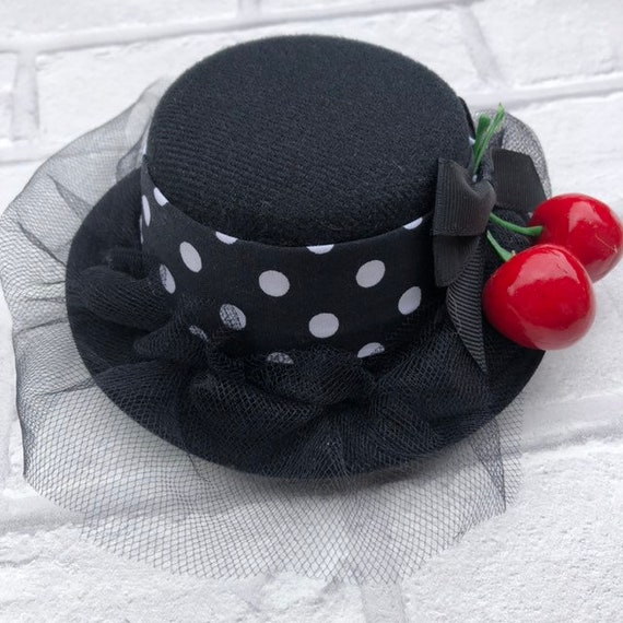 Cherry and Polka Dot Mini Top Hat Rockabilly Pinup 1950s Inspired