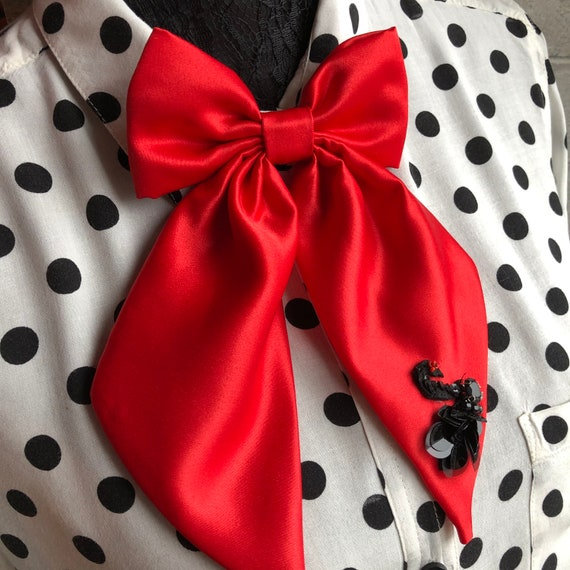 Red Satin Betty Bow Tie Pin With Swan Appliqué Rockabilly Pinup 1950's Inspired
