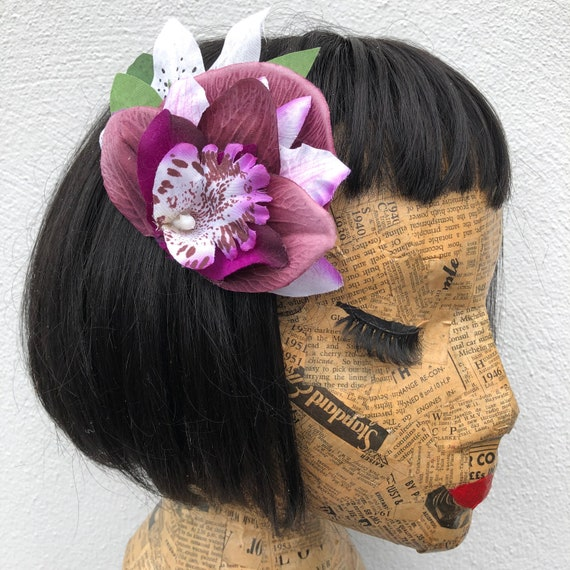 Purple Hair Flower Rockabilly Pinup 1950's Inspired