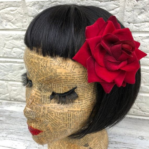 Red Rose Hair Flower Rockabilly Pinup 1950s Inspired