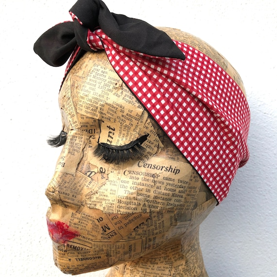 Red Gingham   Headscarf Rockabilly Pinup 1950's Inspired