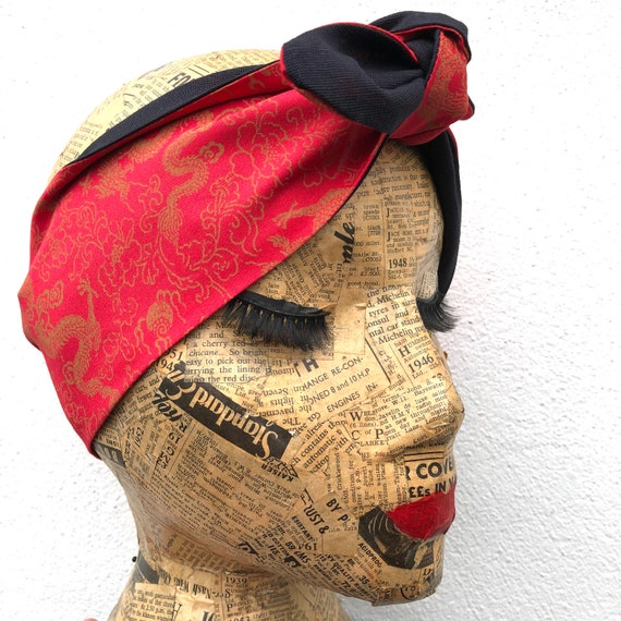 Chinese Dragon Headscarf Rockabilly Pinup 1950's Inspired