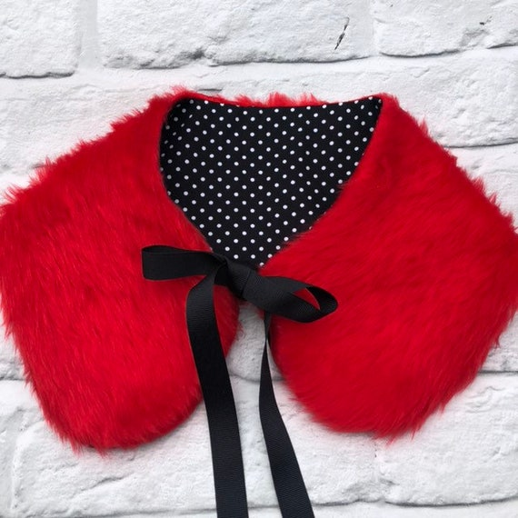 Red Faux Fur Reversable Collar Rockabilly Pinup 1950's Inspired