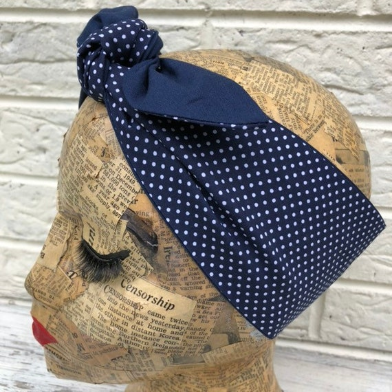 Navy and Navy Polka Dot Reversable Headscarf Rockabilly Pinup 1950's Inspired