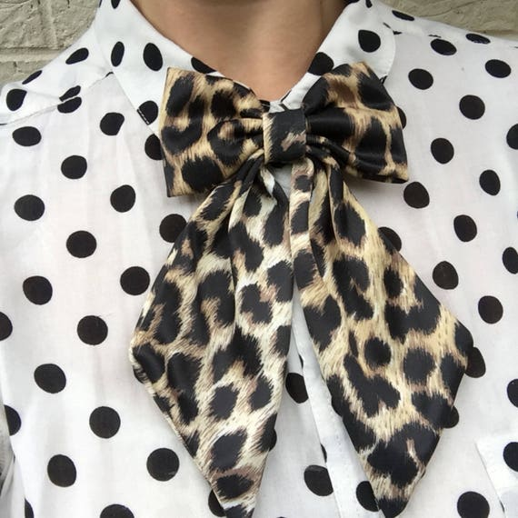 Leopard Print Betty Bow Tie Pin Rockabilly Rockabella