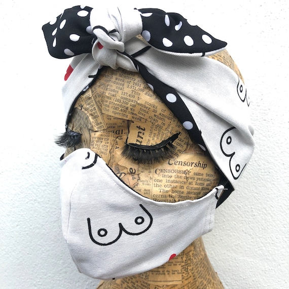 Bewbs Reversible Double layered Face Mask And Headscarf Set Rockabilly Pinup Inspired
