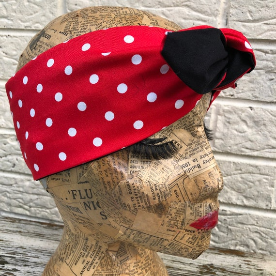 Red and White Polka Dot Headscarf Rockabilly Pinup 1959's Inspired