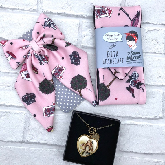 Alice Wonderland Gift Set  Bow tie Pin / Headscarf And Necklace  Rockabilly Pinup 1950's Inspired