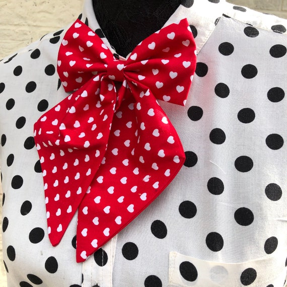 Red Love Heart Betty Bow Tie Pin Rockabilly Pinup 1950's Inspired