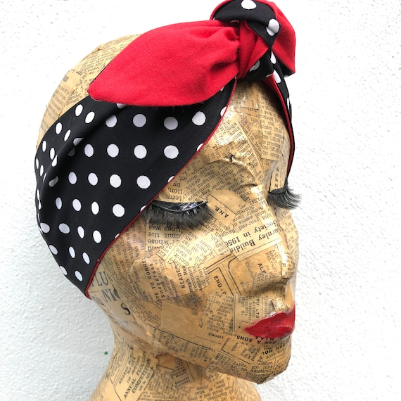 Black Polka Dot And Red Headacarf Rockabilly Pinup 1950's Inspired