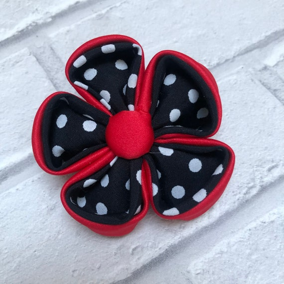 Kanzashi Polka Dot Flower Brooch Rockabilly Pinup 1950's Inspired