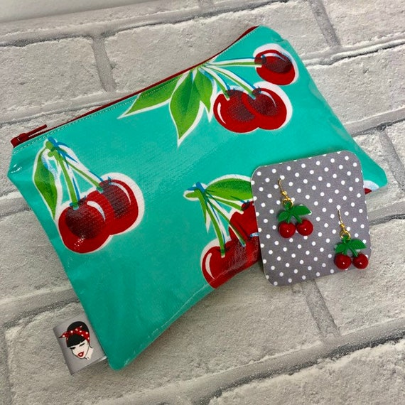 Cherry Gift Box Cosmetic Bag and Earrings  Rockabilly Pinup 1950's Inspired