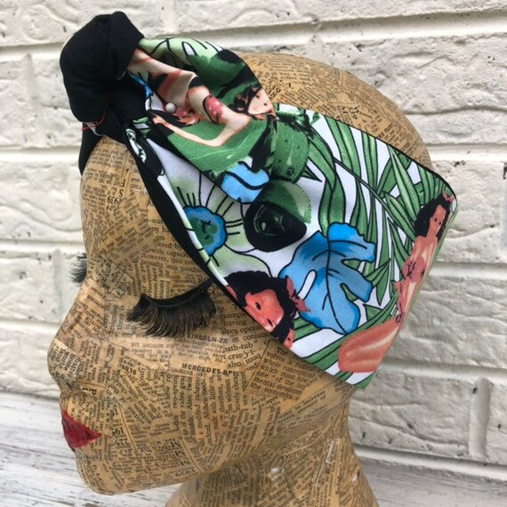 Tiki Hawaiian Print Headscarf Rockabilly Pinup 1950's Inspired