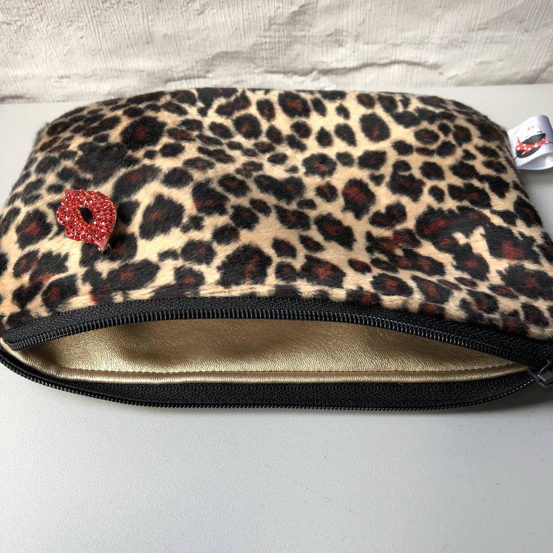 ece41e6114ed Faux Fur Leopard Print Cosmetic Makeup bag Rockabilly Pinup